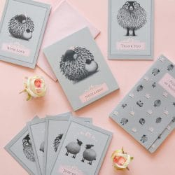 Summer Sale grey and pink sheep stationery