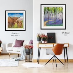 Art with Highland cow, house, forest and purple flowers