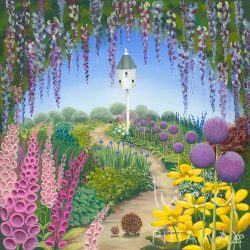 Hedgehog art with purple, pink and yellow flowers