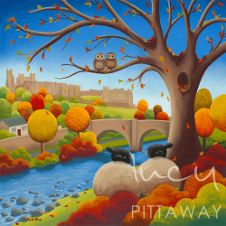 Autumn artwork with sheep, owls and Richmond Castle