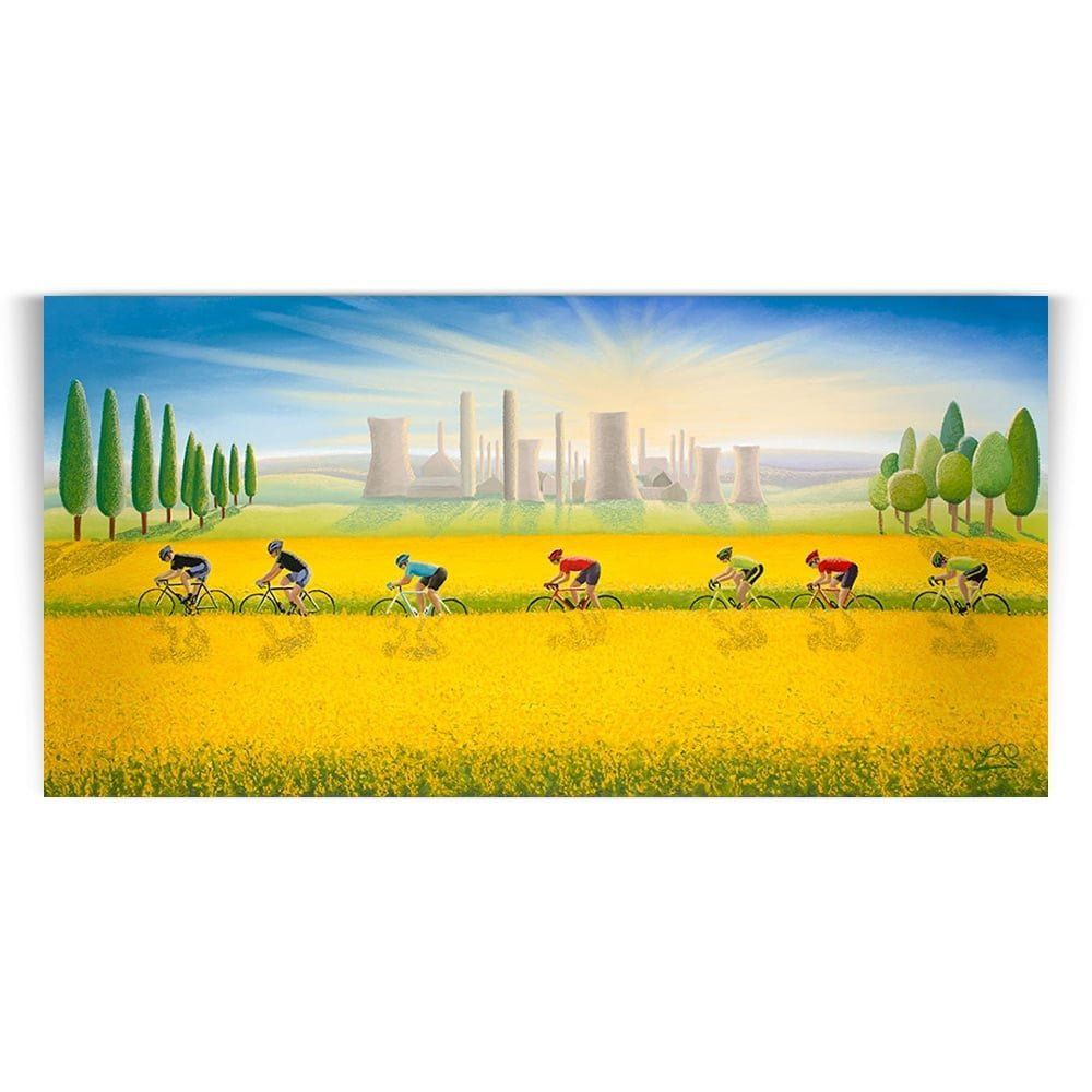 cycling le tour fields of gold print lucy pittaway
