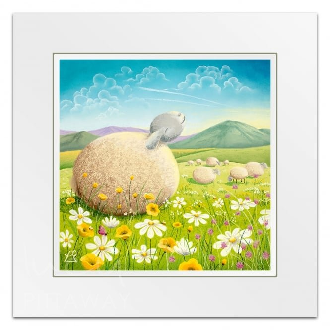 Lucy Pittaway Basking In The Sun - Sheep Art (Little Print)