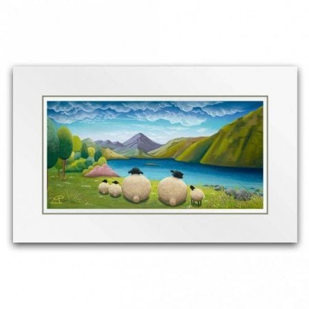 5e02002137f Lakeside Outing - Sheep Art (Little Print) · Lucy Pittaway ...