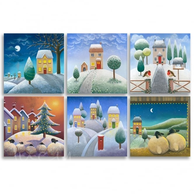 Lucy Pittaway Mixed Pack of 6 Christmas Cards (6 Designs)