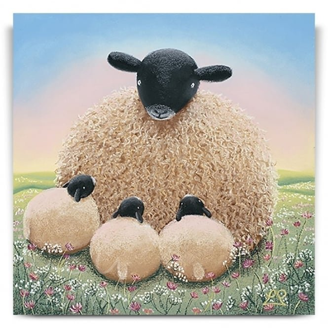 Motherly Love - Sheep Art (Print)
