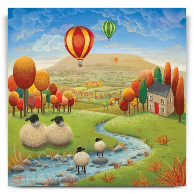 Stepping Stones - Sheep Art (Print)